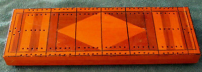 Vintage Inlaid Wood Cribbage Board from Old Estate - 12 3/4 inches long