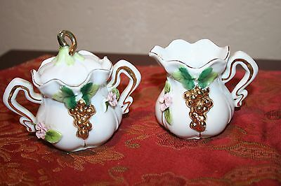 Antique Ornately Decorated Creamer and Sugar Bowl Set Made in Japan