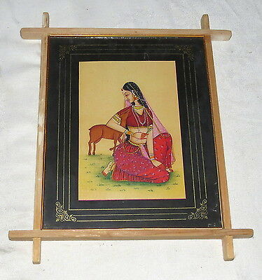 Indian Lady with a Deer Picture Wood Frame