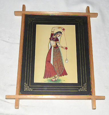 Indian Dancing Lady Picture Wood Frame