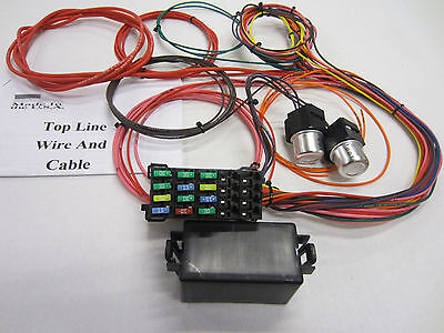 14 circuit 12 fuse universal wiring harness, car, truck, streetrod, chevy, ford