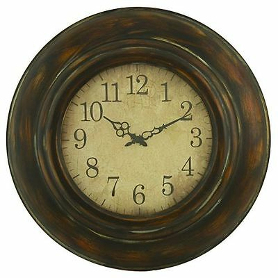 Aspire Home Accents 3780 Brown Cardiff Round Wall Clock