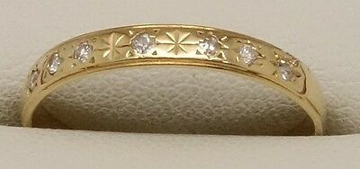 Solid 18Ct Yellow Gold Natural Diamond Dress/wedder/wedding Band/ring