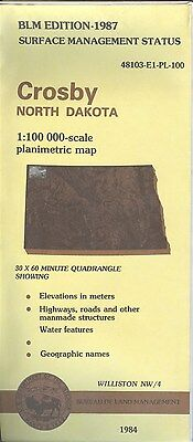 USGS BLM edition planimetric map North Dakota CROSBY 1987 WILLISTON NW/4 surface