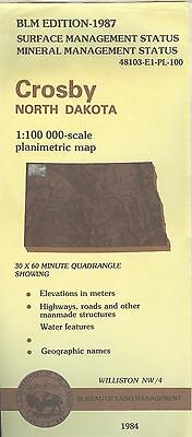USGS BLM edition planimetric map North Dakota CROSBY 1987 WILLISTON NW/4 mineral