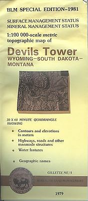 USGS BLM edition topographic map Wyoming SD MT - DEVILS TOWER 1981 mineral  bad