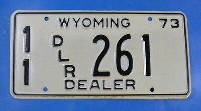 1973 Wyoming Dealer License Plate 11Dlr261 With Issue Envelope            Ul3979