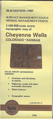 USGS BLM edition topographic map Colorad KS CHEYENNE WELLS 1987 mineral LAMAR NE