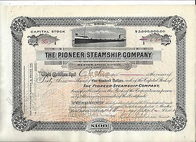 Stk-Pioneer Steamship Co. 1913  Ohio v/ Great Lakes Ore Carrier See image 5 & 6