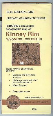 USGS BLM edition topographic map Wyoming Colorado  KINNEY RIM 1982 surface only