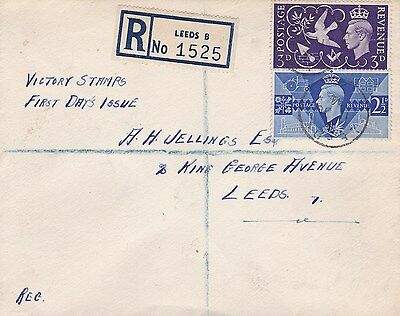 GB 1946 Peace Leeds Registered First Day Cover lovely example VGC