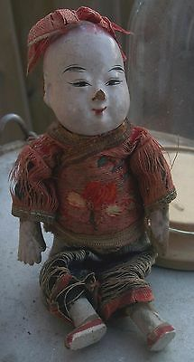 """Super Old Antique Chinese Opera Doll Carved Wood Embroidered Silk Tunic 6"""""""