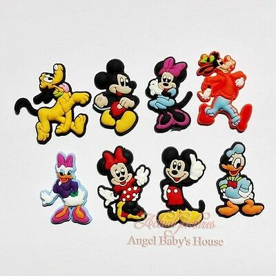 100PCS Mickey Minnie Shoe Buckles PVC Shoe Charms Fit JIBZ Bracelets Kids Gifts