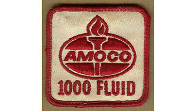 Vintage AMOCO 1000 Fluid, Standard Oil PATCH, Colorful Red Writing