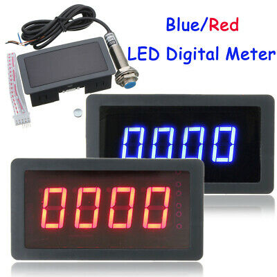 4 Digital LED Tachometer RPM Speed Meter with Hall Proximity Switch Sensor NPN