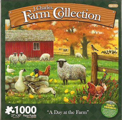 Sheep Lamb Chicken Cow Rural Jigsaw Puzzle 1000 piece A Day at the Farm Made US