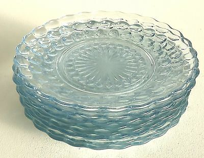 8 Light Blue Hobnail Dessert or Salad Plates 6.75""