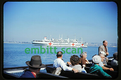 Original Slide, U.S. Navy Hospital Ship at San Diego, early 1950s