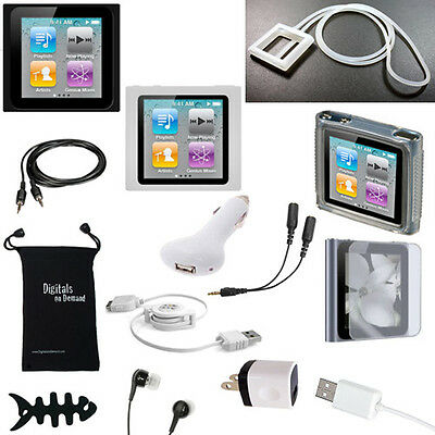 14-Item Accessory Bundle For Apple Ipod Nano 6Th Gen 6 Cover Case Skin Charger