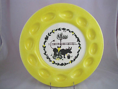 "BROCK CALIFORNIA FARMHOUSE PATTERN EGG PLATE, 13"" diameter"