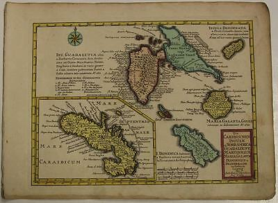 Guadeloupe Martinique Dominica West Indies 1749 Schreiber Antique Engraved Map
