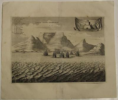Cape Of Good Hope South Africa 1686 Van Der Aa Unusual Antique Coastal View