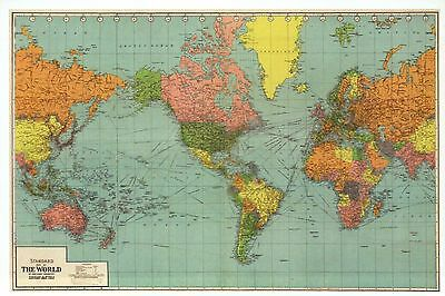 Panoramic Map of the World, United States, Europe, Asia etc. --- Modern Postcard