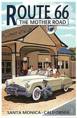 Route 66 Santa Monica California, Gas Station, The Mother Road - Modern Postcard