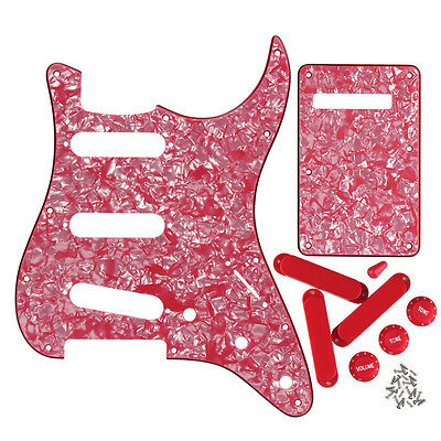 Guitar SSS Pickguard Back Plate & Closed Pickup Covers Knobs for FD Strat Guitar
