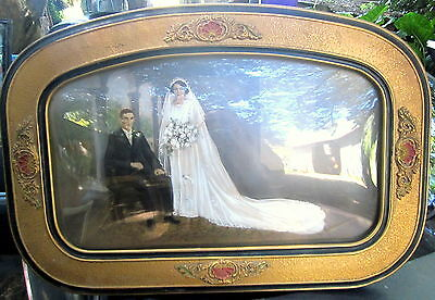 superb early 1900's ornate frame with convex glass & hand painted wedding photo