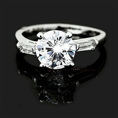 18k White Gold Plated Wedding Engagement Ring Made With Swarovski Crystal SR72
