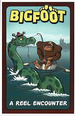 Bigfoot Catches Loch Ness Monster, Fishing, A Reel Encounter --- Modern Postcard