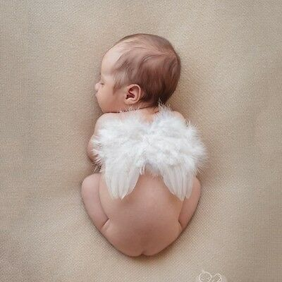 Cute Newborn Toddler Baby Boy Girls Halo Photo Props Costume Angel Feather Wings