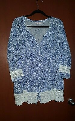 Women's Plus Size 20 Millers Blue & White Paisley Boho Shirt Blouse Top VGC