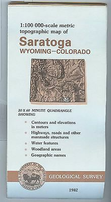US Geological Survey topographic map metric Wyoming Colorado SARATOGA 1982