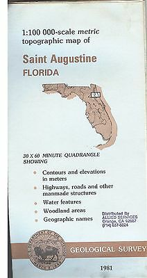 US Geological Survey topographic map metric Florida SAINT AUGUSTINE 1981