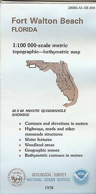 US Geological Survey NOAA topographic bathymetric map FORT WALTON BEACH Florida