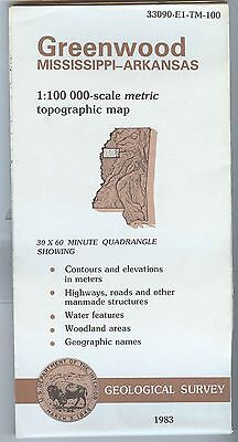 US Geological Survey topographic map metric GREENWOOD Mississippi Arkansas 1983