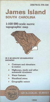 US Geological Survey topographic map metric JAMES ISLAND South Carolina 1990