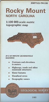 US Geological Survey topographic map metric ROCKY MOUNT North Carolina 1985