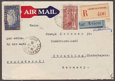 Maroc Morocco 1935 Registered Airmail Cover Casablanca To Germany
