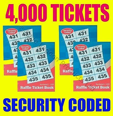 4 x Raffle Cloakroom Ticket Book 4000 Tickets SECURITY CODED - Tombola