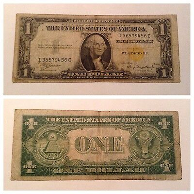 Vintage North Africa 1935-A $1 Silver Certificate One Dollar Currency Yellow