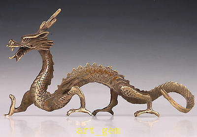 Oriental Vintage Bronze Statue Chinese Dragon Lifelike Collection Old