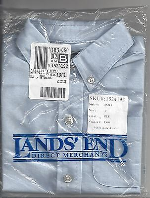shirt dressy by lands end button down collar unisex blue oxford kids size 4 new