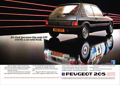 Peugeot 205 Gti & 205 Turbo 16 T16 Retro A3 Poster Print From 80's Advert