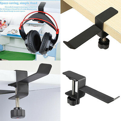 Steel Headset Headphone Earphone Holder Hanger Stand Table Clamp Clip w/ Screws