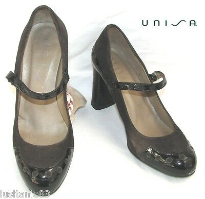 Unisa Shoe Heels 8Cm A Flange All Brown Leather & Black 35 Excellent Condition