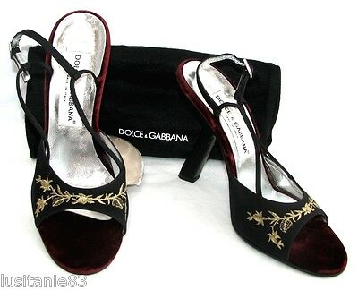 Dolce Gabbana - Court Shoes Heels 12.5 Cm Velvet Textile Embroidery 37.5 - New