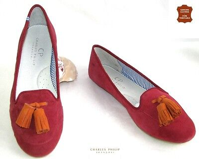 Charles Philip - Ballet Flat Shoes Pompoms Leather Pink Orange 39 - New Box